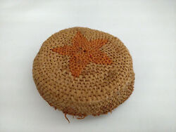 Rare Small Antique Arts And Crafts Movement Coiled Basket/mush Bowl W/star