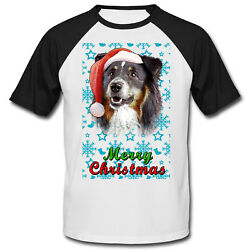 Black Collie Santa snow COTTON BASEBALL TSHIRT