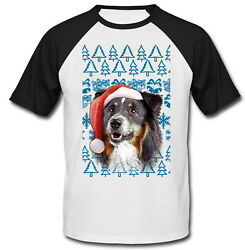 Black Collie Christmas Santa COTTON BASEBALL TSHIRT