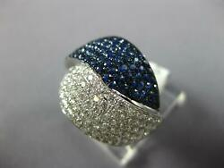 Large 2.12ct Diamond And Aaa Sapphire 18kt White Gold Criss Cross Love Knot Ring