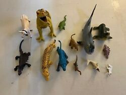 Vintage Animal Dinosaur Cow Farm Animals + More Rubber Toy Lot Imperial Marx