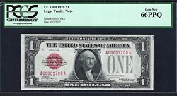1928 1 Fr-1500 Red-seal W/low Sn ♚♚a00001708a♚♚ Pcgs Gem New 66 Ppq
