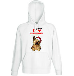 I Love Christmas With My Yorkshire Terrier - COTTON WHITE HOODIE