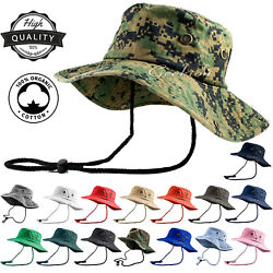 Unisex 100% Cotton Bucket Hat Fishing Camping Safari Military Boonie Sun Summer $9.69
