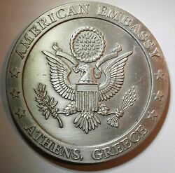Rare Medal Of The Usa Embassy At Athens, Greece With Acropolis