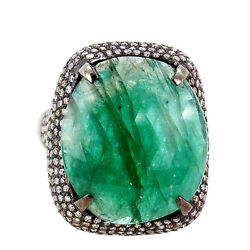 Emerald Gemstone Cocktail Ring Diamond Pave Sterling Silver Look Antique Jewelry