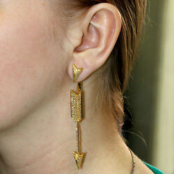 Solid 14k Yellow Gold Pave 2.18ct Natural Diamond Arrow Ear Jacket Earrings Fine