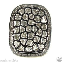 14k Gold Rose Cut 2.68ct Real Diamond Pave Ring 925 Sterling Silver Fine Jewelry