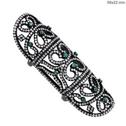 New Gemstone Emerald Pave 4.85ct Diamond 925 Silver Armour Knuckle Ring 14k Gold