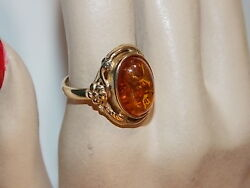Uk Hallmarked 9c Y Gold 375 Golden Amber Cab Flowers Sz 7 Solitaire Ring 10h 26