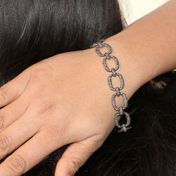 Natural 7.36ct Diamond Pave Link Chain Bracelet Fine 925 Sterling Silver Jewelry