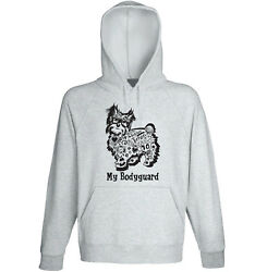 Yorkshire terrier my bodyguard b - NEW COTTON GREY HOODIE