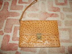 Vintage Mark Cross Germany Ostrich Tan Leather Envelope Locking Clutch Bag Purse