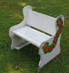 Vintage Wooden Seat Carnival Carousel Clown Bench Coney Island Ny Flowers