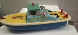 Rare China Tin And Wood Pleasure Boat With 3 Cam Toy