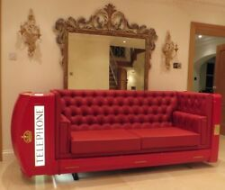 RED TELEPHONE BOX BOOTH KIOSK SOFA K6   LOUNGER X FACTOR CONTESTANTS HOUSE BT