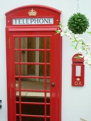 Red Telephone Box Booth Kiosk K6 Door Front Mirror - Full Size 8ft By 3ft
