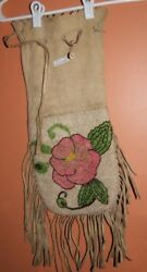 Beautiful Old Beaded Bag-Floral Design Both Sides-Soft Leather and Fringe $900.00