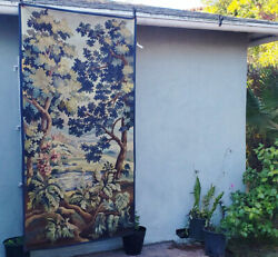 A Beautiful Antique Tapestry With Castle Lake And Trees 4 Of 4