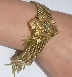 1873 Auth Victorian Mesh bracelet Gold fill with tassel turquoise and pearls