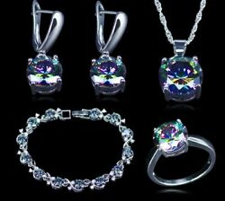 Mystic Topaz 925 Sterling Silver Jewelry Set Rainbow Color Wedding Special Party