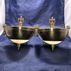 Wired Pair Antique Raw Brass Theater Sconces Art Deco Slip Shade Fixtures 1c