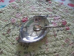 Vintage International Deep Silver Silver Plated Candy Dish And Spoon Excellent C