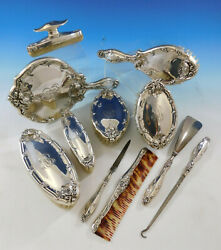 Intaglio By Reed And Barton Sterling Silver Mirror Brushes Dresser Set 11pc 3364