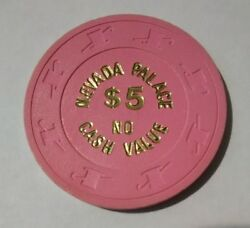 1980 Nevada Palace Casino Las Vegas Nevada 5.00 Ncv Chip Great For Collection