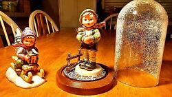 Hummel It's Cold 421 W/ Glass Dome, Ride Into Christmas 396 2/0, Goebel