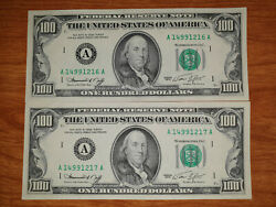 Set Of 2 United States Of America 100 Dollar Bills Us Old Notes Usa 1974 Unc