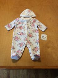 $32 girls Little me 2PC floral print hat & footed coverall set 3 months P60 D