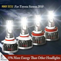 Combo 4X H11 9005 HB3 LED Headlight Kits HiLo Beam For Toyota Sienna 2010 Lamps