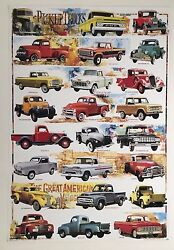 American Vintage Pickup Trucks,ford,gmc,design By Tota Authentic 2003 Poster