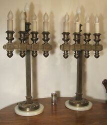 Pair Of 2 Gigantic Solid Bronze Marble Catholic Church Electric Table Lamp Brass