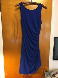 Andrew Marc New York Blue Knit Ruched Dress Side Zipper Sleeveless Size 2sexy