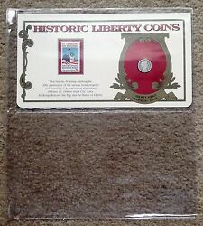 1907 10c Barber Dime Postal Comm. Society Panel Historic Liberty Coins + Stamp