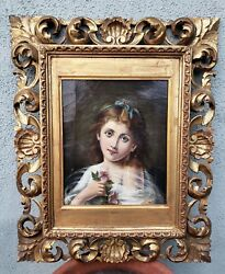 An Antique Framed Painting Young Girl With Ribbon