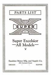 1925-1929 Parts List - Excelsior Super- X Motorcycle - Quality Reproduction