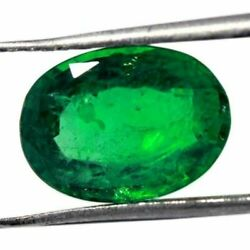 3.40Cts CERTIFIED NATURAL GREEN COLOMBIAN EMERALD OVAL FACETED LOOSE GEMSTONE