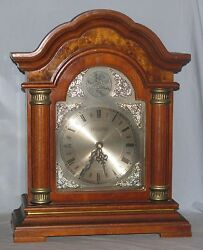 Wood Mantle Clock Quartz Movement Westminster Chime Strike Free Shipping