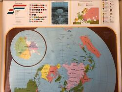 Pull Down School Maps 2 Layer World Super Powers Vintage, Salvage, Antique.