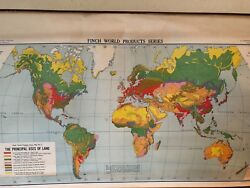 Vintage Pull Down Maps Cloth 1 Layer World. Vintage, Salvage, Old