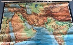Huge Huge Cloth Map 1 Layer Sw Asia/india Vintage, Salvage, Old, Antique.