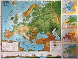 Pull Down School Maps 2 Layer Europe. Vintage, Salvage, Old, Antique.