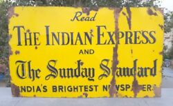 1930and039s Vintage Old The Indian Express News Paper Ad Porcelain Enamel Sign Board