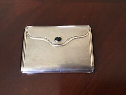 Rare Vntg/antq Sterling Silver Onyx Cigarette Case Marked Bf 935 And Austrian Mark