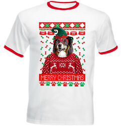 Black Collie Christmas RED RINGER COTTON TSHIRT