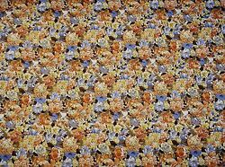 Floral Fabric Faye Burgos Marcus Brothers - 2 Pieces - Orange Gold Blue Brown