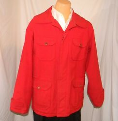 Vintage 50s To 60s Woolrich Hunting Jacket Map Pocket Lined L 42